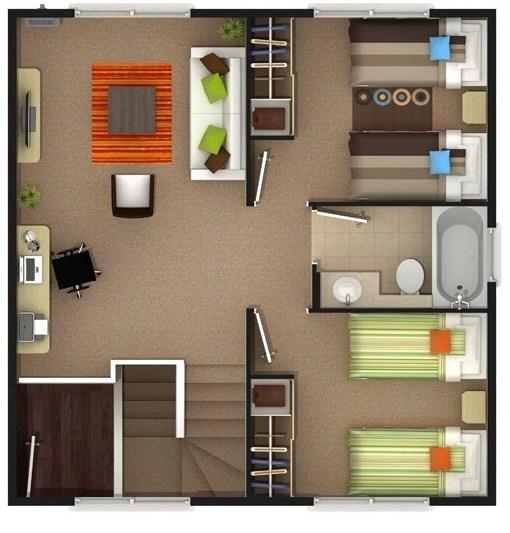 Planos de casas de 2 pisos de 100 metros cuadrados
