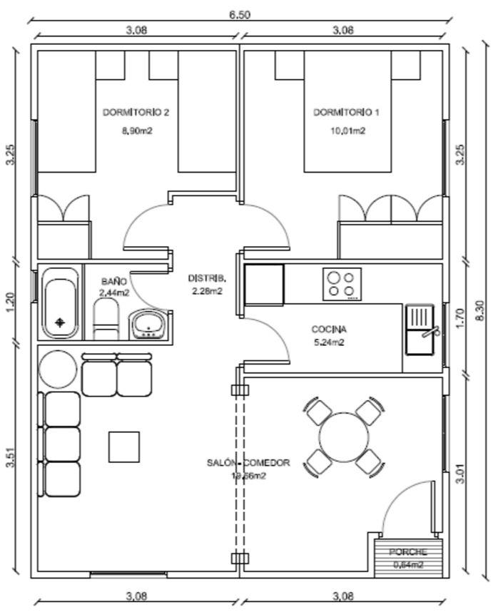 Distribucion de casa de 8x5 metros for Casas modernas de 80 metros