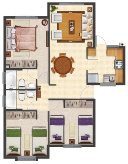 Diseños arquitectónico de casa en terreno de 8 x 20 m