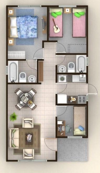 Diseños arquitectónico de casa en terreno de 8 x 20 metros