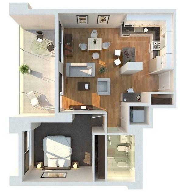 Modelo de departamentos de 50 metros cuadrados