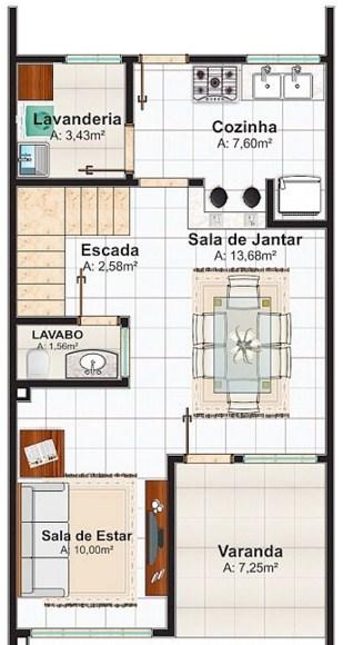 planos de casas 6*15