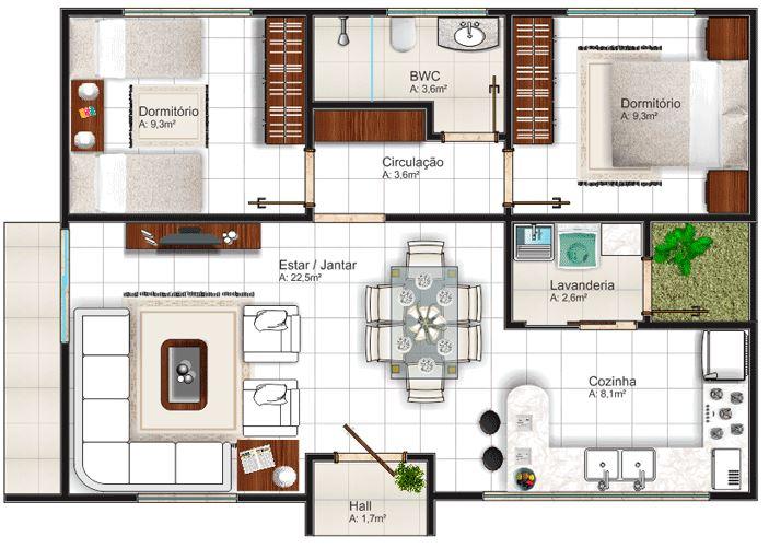 Casas de 7 metros de ancho por 8 metros de largo