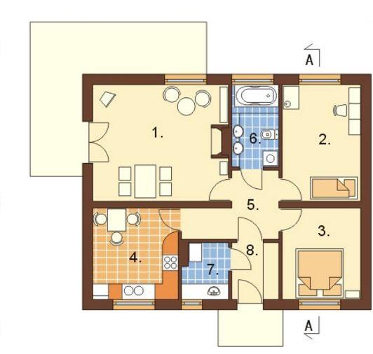 Casa rectangulares planos 1 piso for Plano casa un piso