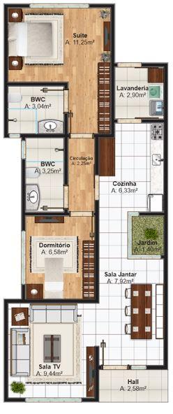 Planos de casas modernas 7x15 gratis