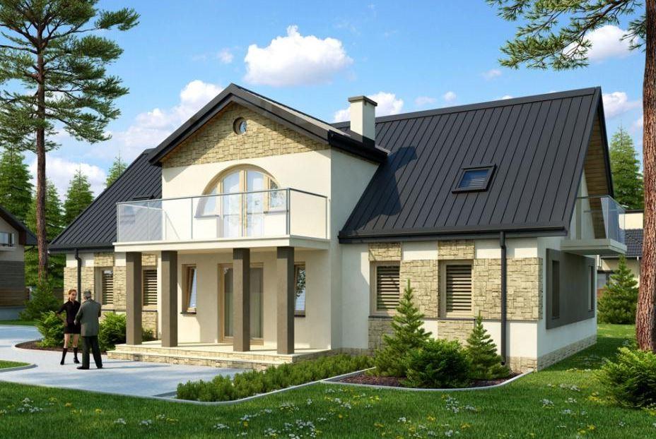 Fachadas de casas de 2 plantas con balcon