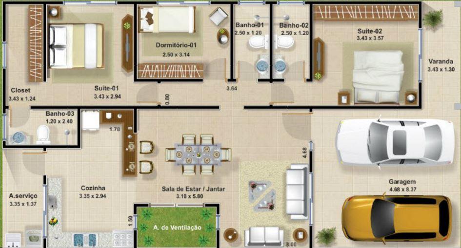 Planos de casas de 3 dormitorios conterraza