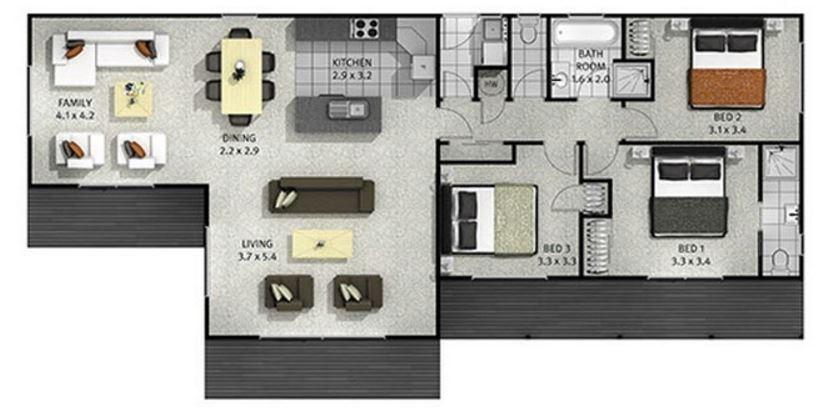Planos de casas de 3 dormitorios en guatemala