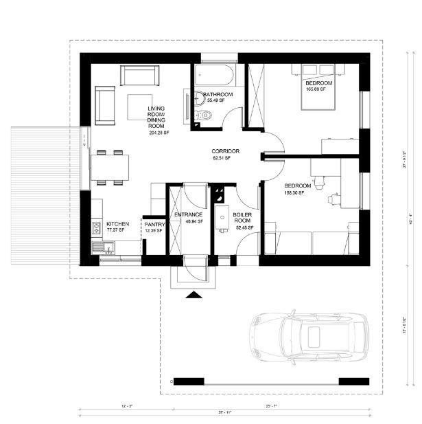 Planos de casas de un piso pequeñas