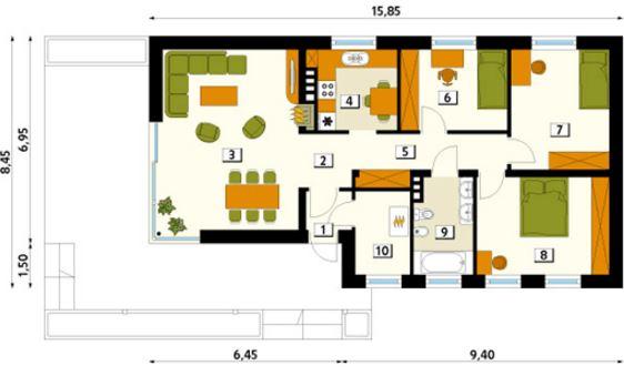 Planos de casas de un piso y 3 dormitorios