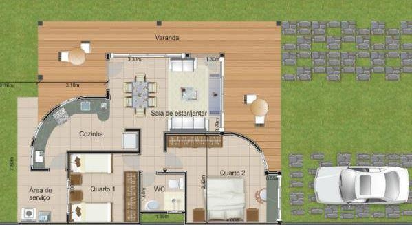 Departamento 8 x 10 for Planos de casas 200m2