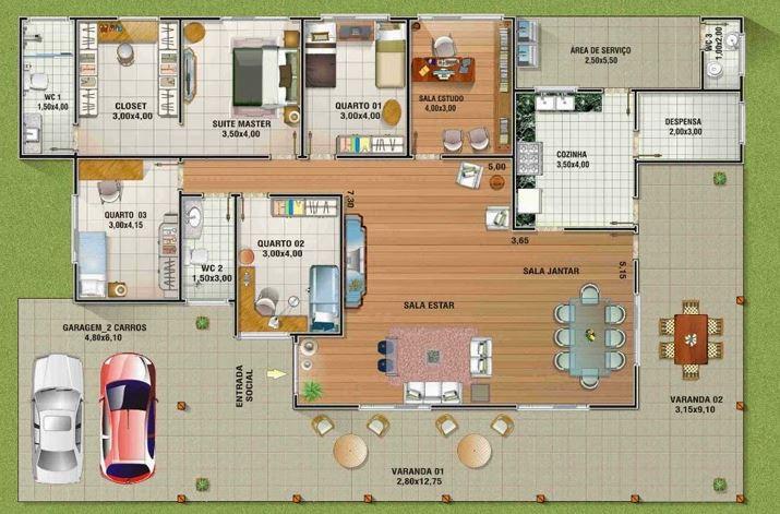 Planos de casas campestres con corredores
