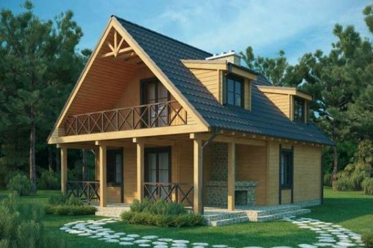 Imagen de casas de madera con jardin adelante y atras