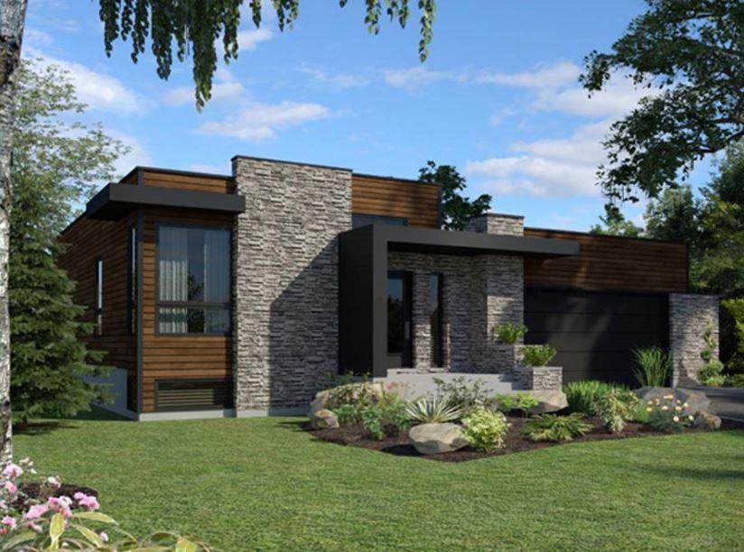 Imagen de casas modernas de un piso con jardin adelante y atras