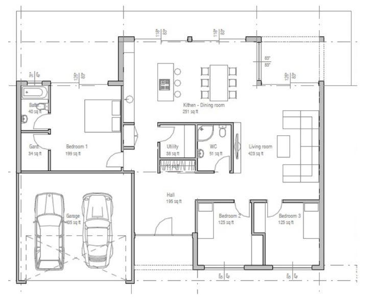 Planos de casas de 150 metros cuadrados minimalistas