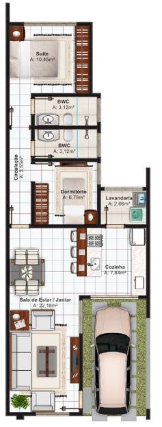Planos de casas de un piso de 6x20