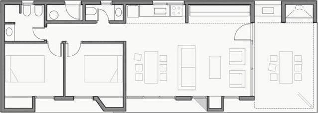 Plano de casa de 4 metros de ancho por 8 metros de largo
