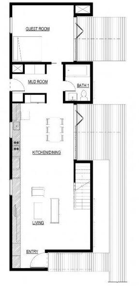 Plano de casa de 4 mts de ancho por 15 largo