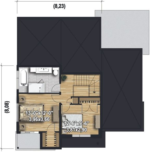 Planos casas de 2 dormitorios for Planos casa dos plantas modernas
