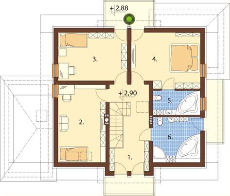 Planos de una casa de 2 pisos con fachada