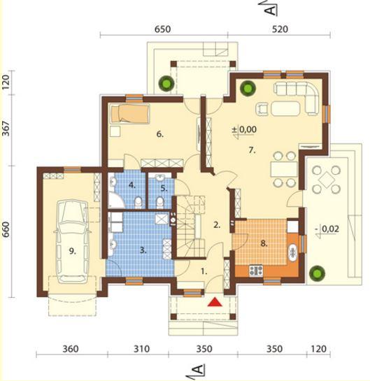 Planos de una casa urbana de 2 pisos con fachada bonita