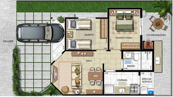 plano de casa de 6 x 12 metros