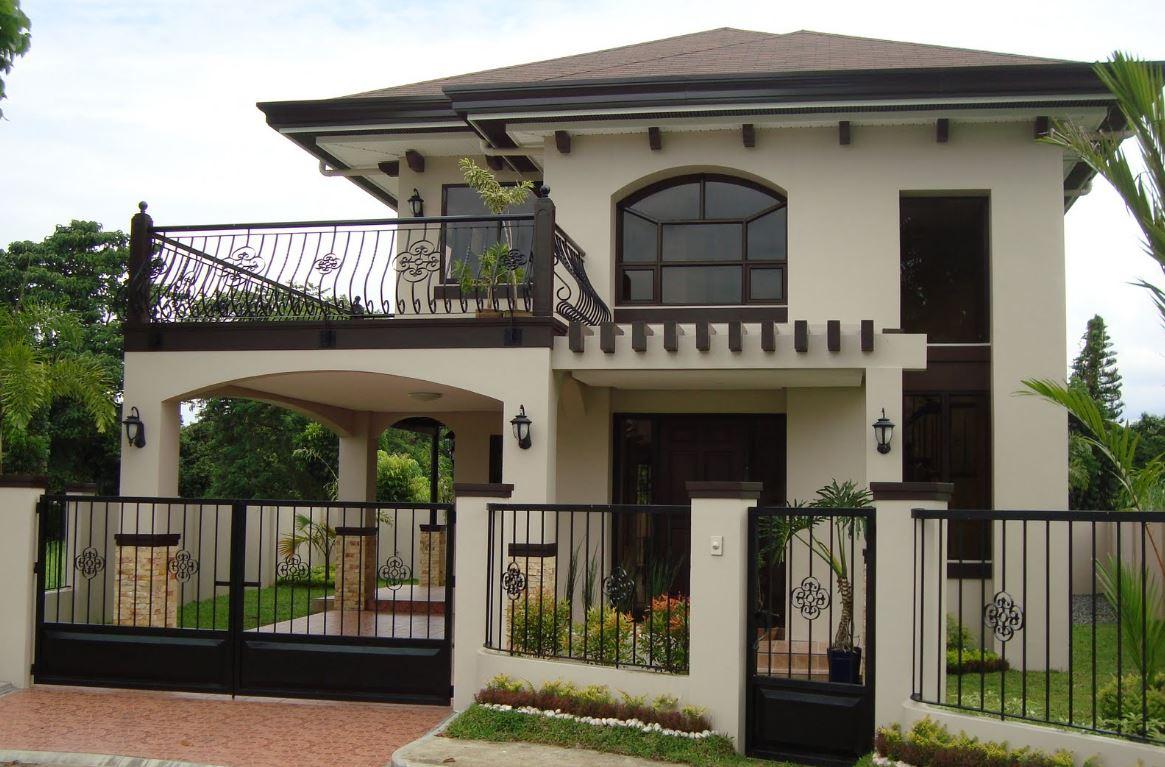 fachadas de casas de dos pisos con terraza al frente