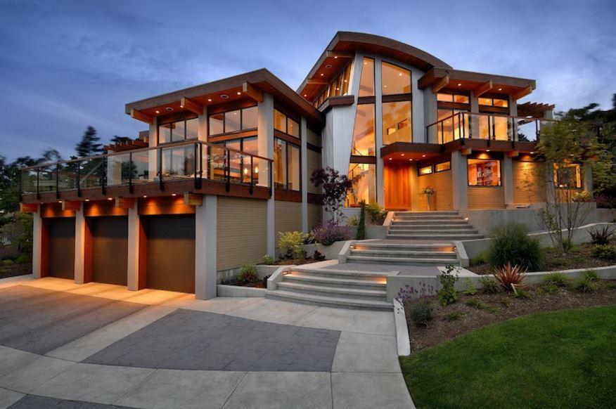 Fachadas de casas de 2 pisos con terraza al frente