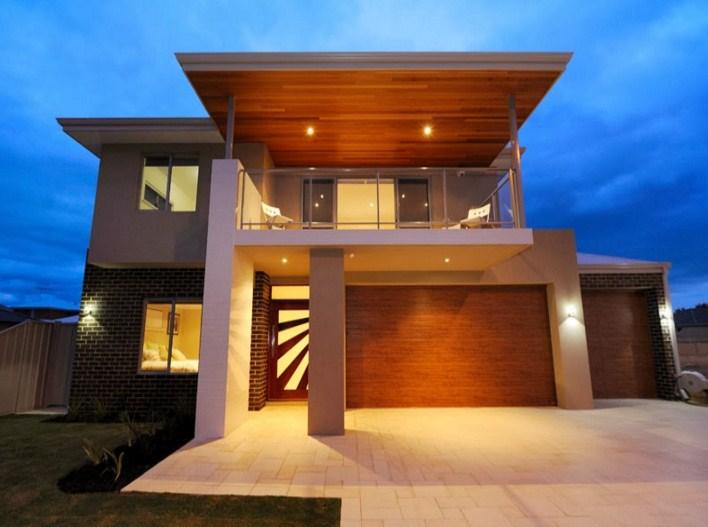 Fachadas de casas de dos pisoscon terrazas modernas