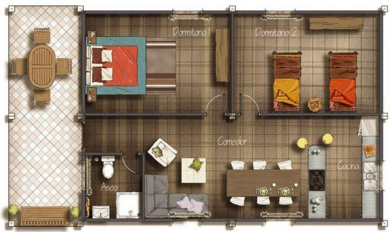 Plano casa 5x10 metros cuadrados for Dormitorio 15 metros cuadrados