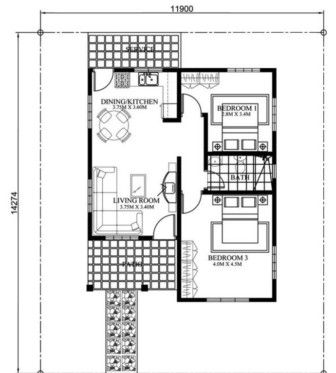 planos-y-fachadas-casa-sencilla-una-planta-dos-dormitorios