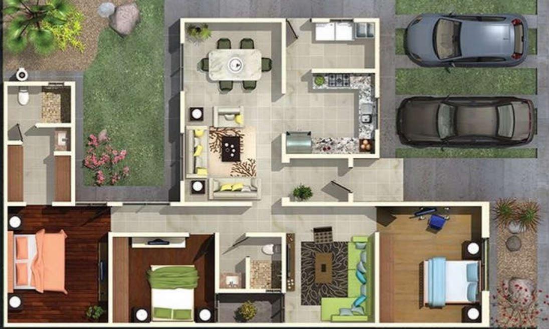 Planos de casas de 100m2 con cochera y jardin - Planos de casas de 100 metros cuadrados ...