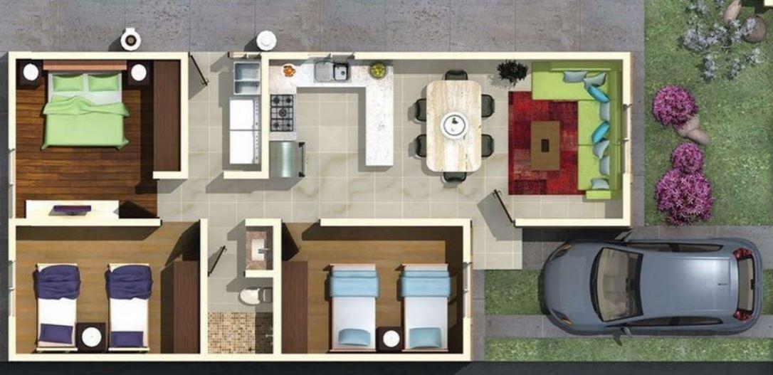 Modelos de casas de 6 de frente y 12 de fondo for Modelos de casas de 3 dormitorios