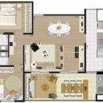 Planos de departamentos dos recámaras – 14 diseños de apartamentos de 2 cuartos