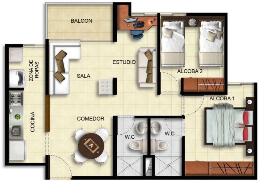 Planos de casas gratis for Modelo de departamento pequeno