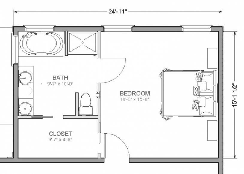 Planos de dormitorios con ba o y vestidor con medidas - Planos de cuartos de bano ...