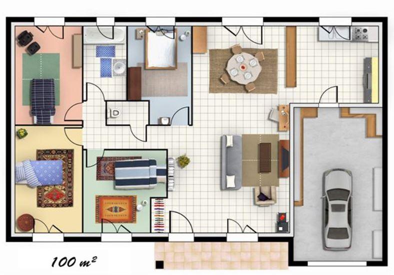 Planos de casas de un piso de 100 metros cuadrados - Planos de casas de 100 metros cuadrados ...