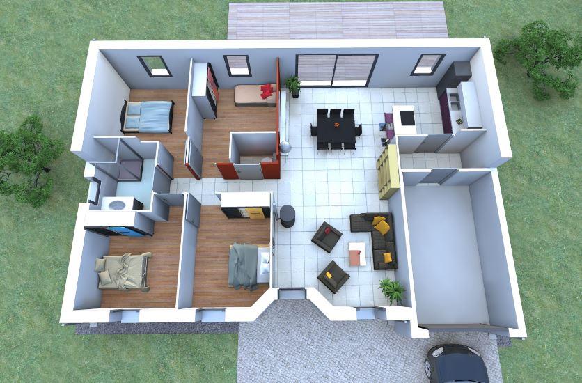 Planos de casas gratis for Piso 65 metros cuadrados