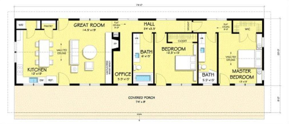 Planos de casas rectangulares - Planos casa una planta ...