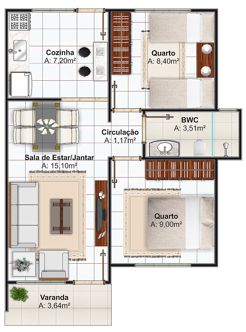 plano de vivienda con medidas en metros