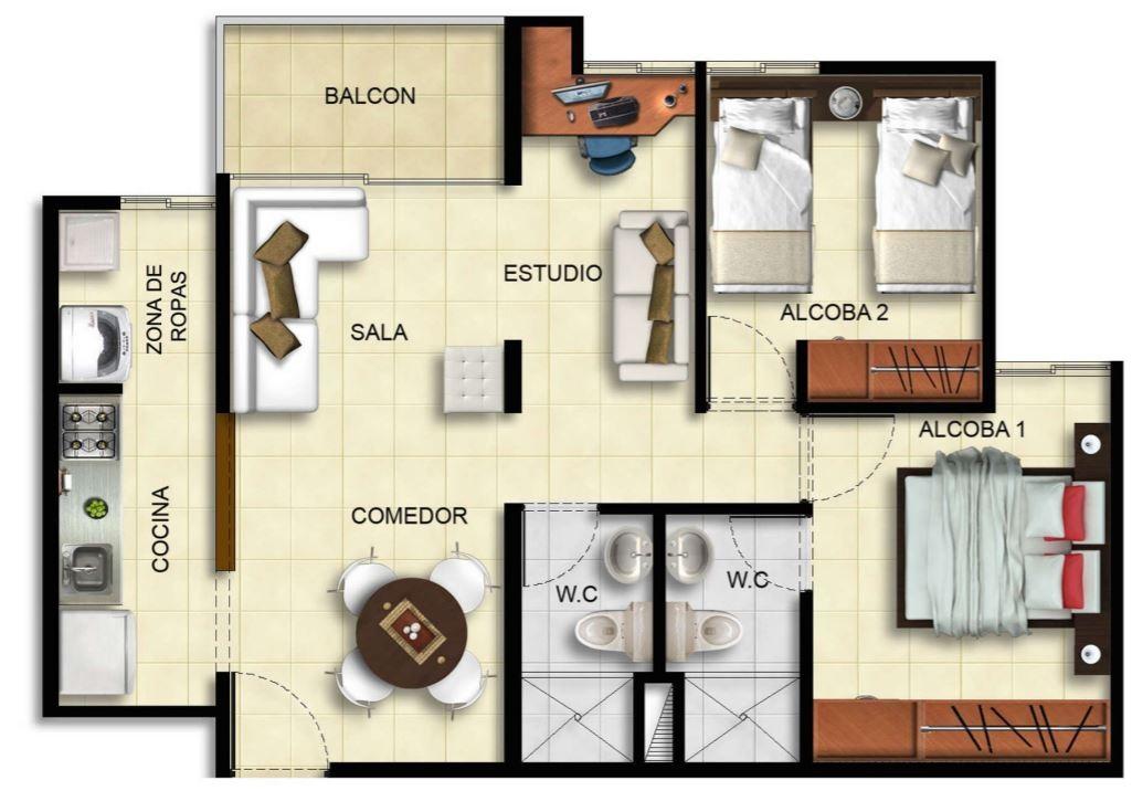 Planos de apartamentos de 45 metros cuadrados for Diseno de apartamento de 60m2