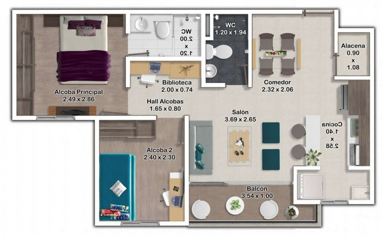 Planos de apartamentos de 45 metros cuadrados for Dormitorio 15 metros cuadrados