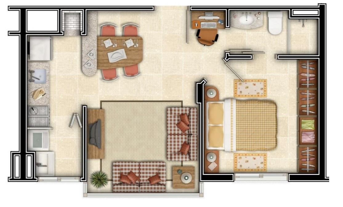 Plano de 4x8 para departamento for Planos de departamentos de 40m2
