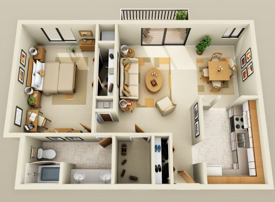 Planos de departamentos de 1 dormitorio for Planos de apartamentos modernos