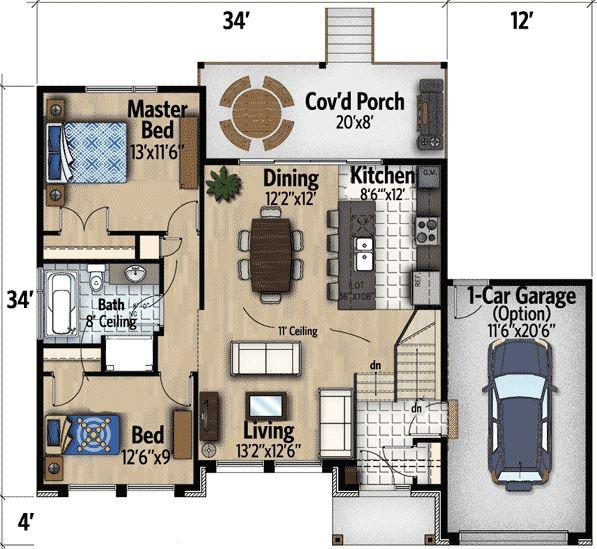 Planos de casas gratis for Casa con garage laterale