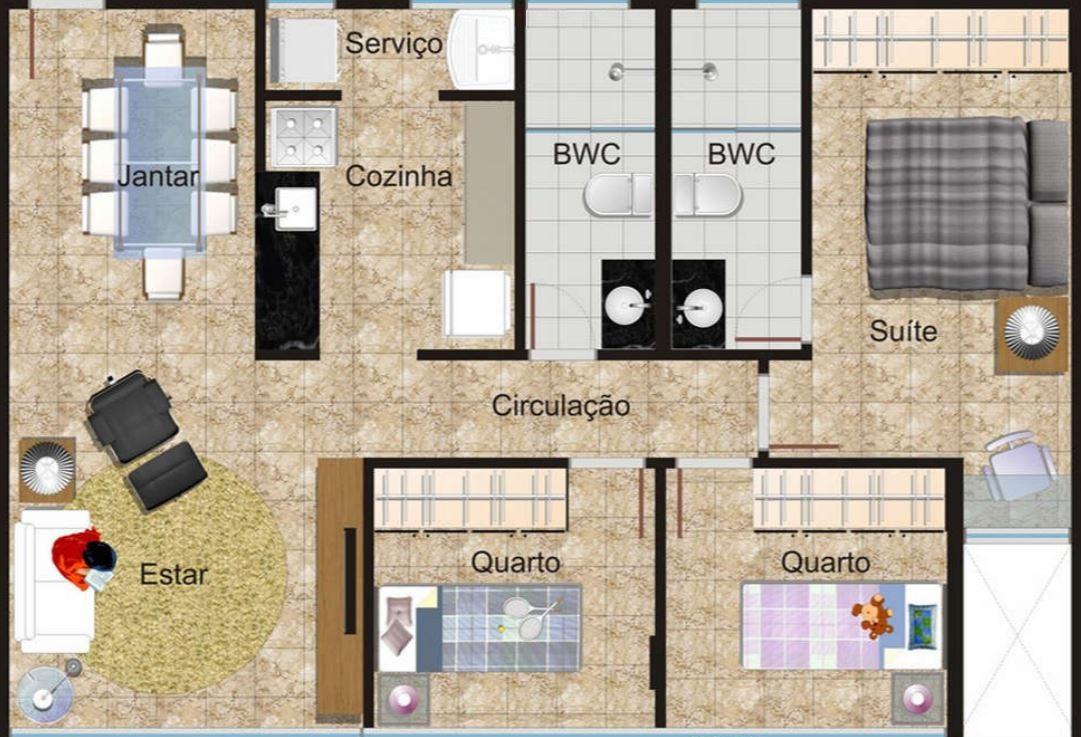 Planos de departamentos peque os rectangulares for Diseno de apartamento rectangular