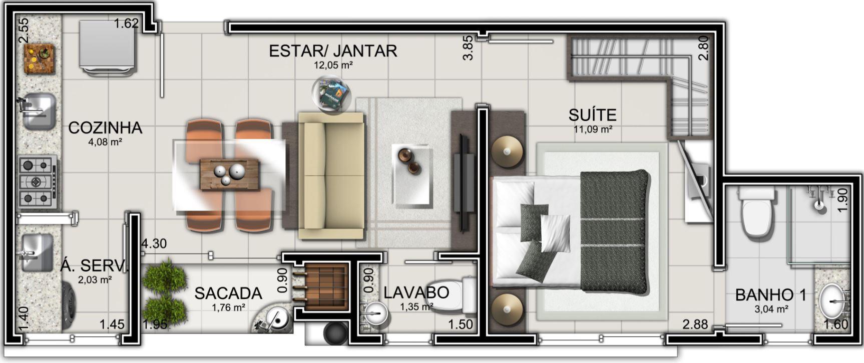 Planos de departamentos peque os rectangulares for Departamentos pequenos planos