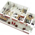 Cuantos m2 debe tener como mínimo un departamento con 3 dormitorios