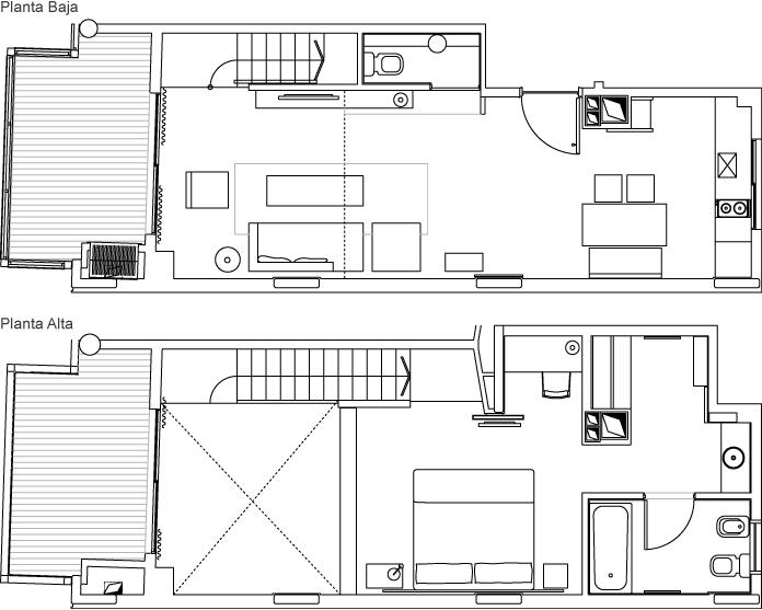 Plano loft en dos plantas
