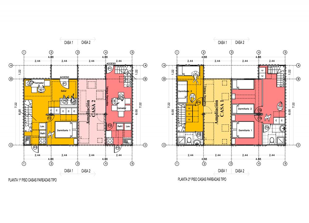 plano de casas con contenedores